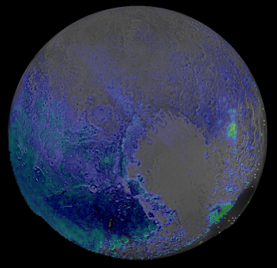 false colour image showing water ice on Pluto