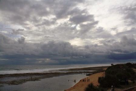 Pemandangan di Pantai Sayang Heulang, Garut.