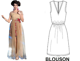 BLOUSON: - Woman's dress having a belt, draw string or similar closing, at or below the waist, which causes it to blouse of or relating to such a dress, the mode it exemplifies, or rather considered to resemble this style.