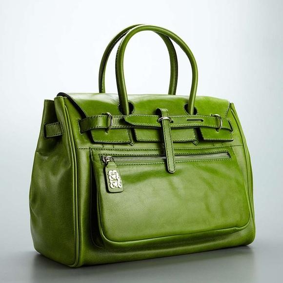 sac a main original couleur pistache en cuir  pas cher