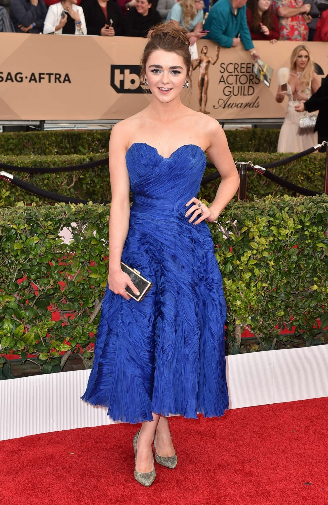 Maisie Williams goes strapless for the 2016 SAG Awards