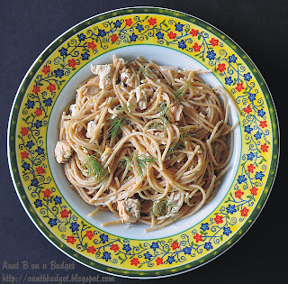 Neptune's Pasta from Aunt B on a Budget - Delicious way to use up leftover fish.