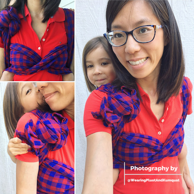 [Three image collage of a tan skin bespectacled Asian woman wearing a preschooler on her back using a red and blue checkered woven wrap over a red collared shirt. The spunky sweetheart is giving Mama a kiss on the cheek in one photo and smiling over Mama's shoulder in another.]