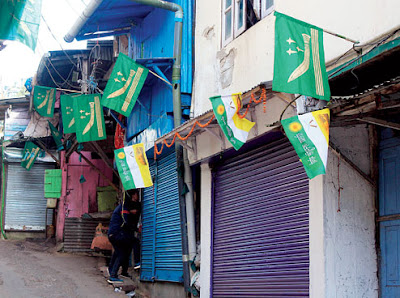 GNLF flags in Darjeeling town