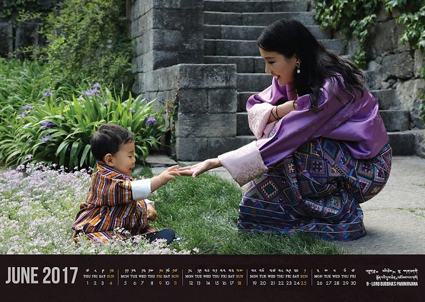 New June 2017 calendar bearing the photos of Queen Jetsun Pema of Bhutan and her young son Prince Jigme Namgyel Wangchuck