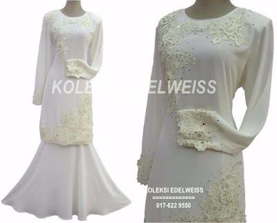 Baju Kurung Moden Lace Untuk Nikah Putih