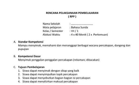 Bahasa Sunda SMP MTs Kelas 7 Prota Promes Silabus RPP KKM