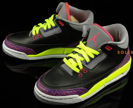 2a5da322150d6c Girl s Air Jordan 3 Retro GS Black Atomic Red-Cement Grey-Volt August 2013