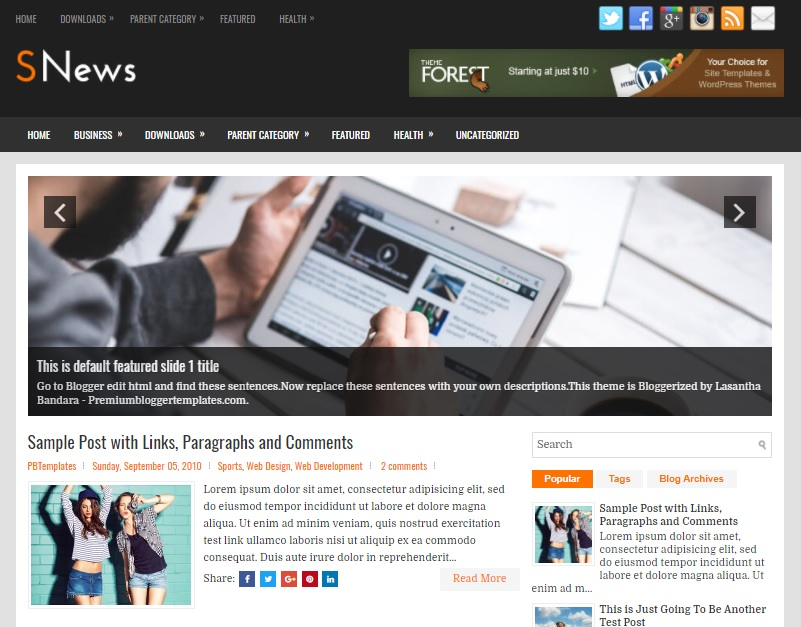 SNews Blogger Template