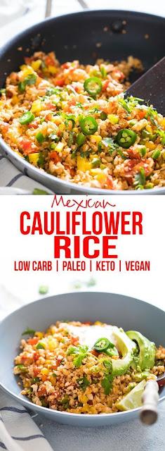 LOW CARB MEXICAN CAULIFLOWER RICE (PALEO, VEGAN, KETO)