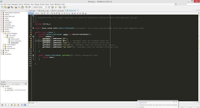 gambar membuat class simpan untuk menyimpan data ke tabel