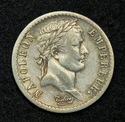 French silver coins of Napoleon Bonaparte Franc coin