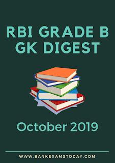 RBI Grade B Monthly GK Digest: October 2019
