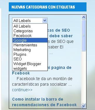 Nuevo estilo de etiquetas con menu desplegable para blogger
