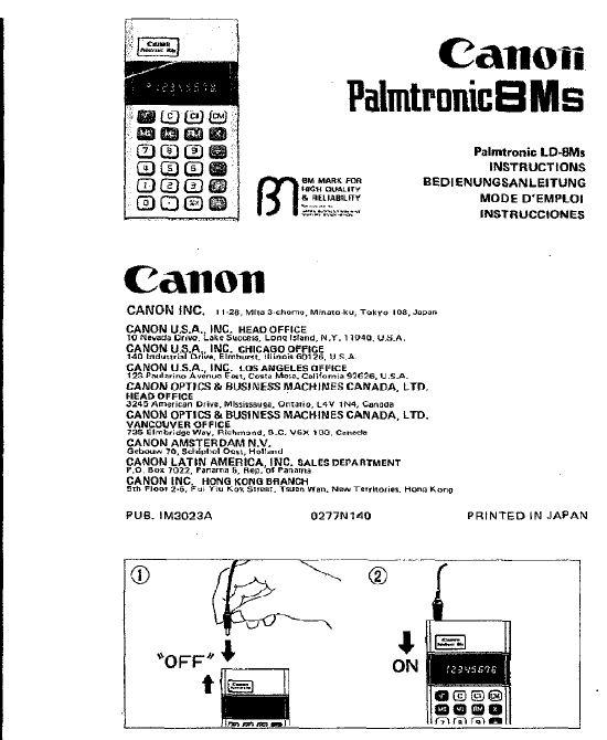 3,14159265358979323....DAMICALC: Canon Palmtronic 8Ms