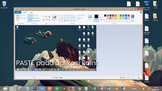 Paste pada aplikasi Paint OS Windows