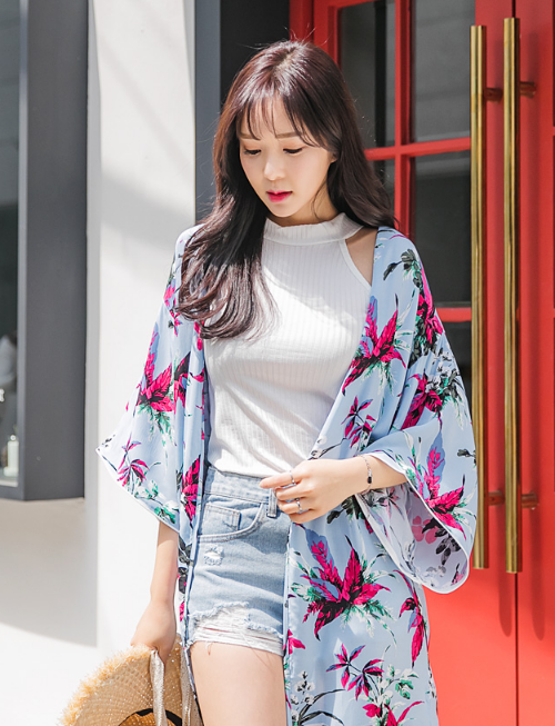 Leaf Print Open Cardigan