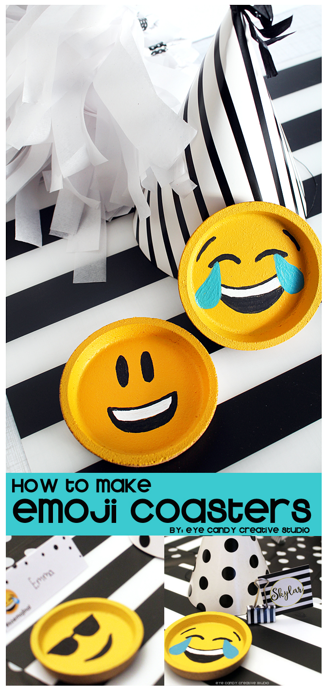 IKEA hack, how to make emoji coasters, IKEA, emoji party favors, emoji party