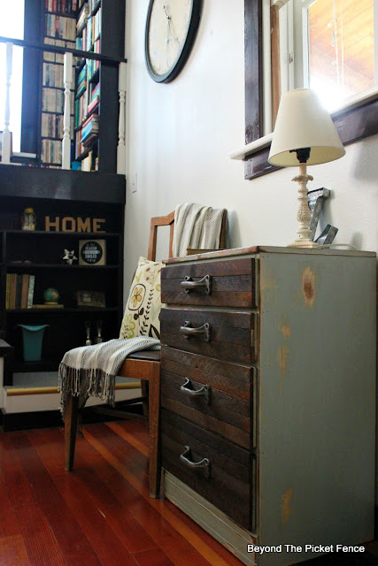 rustic industrial, dresser, nightstand, end table, chest of drawers, reclaimed wood, salvaged, http://bec4-beyondthepicketfence.blogspot.com/2015/08/rustic-industrial-chest-of-drawers.html