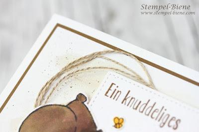 Babykarte; Karte mit Bären; Bärenkarte; Aquarelltechnik; Tierische Grüße; Matchthesketch; Stempelparty; Karte Zwillinge