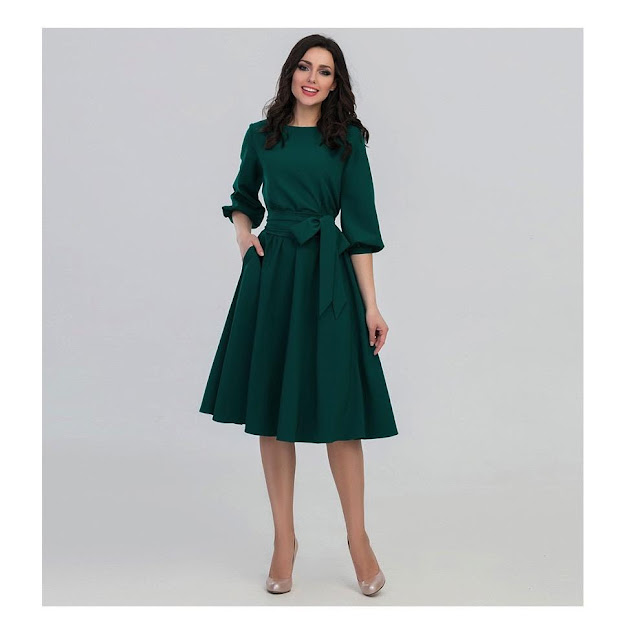 Women's Vintage O-Neck Elegant Autumn Dress