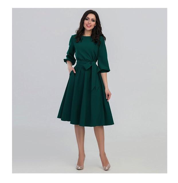 Women's Vintage O-Neck Elegant Autumn Dress