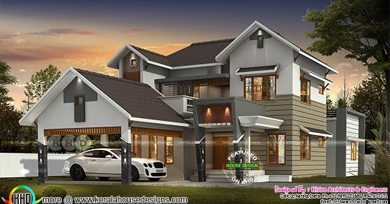 2950 Square Feet 4 Bedroom Modern Contemporary House Kerala Home Design And Floor Plans