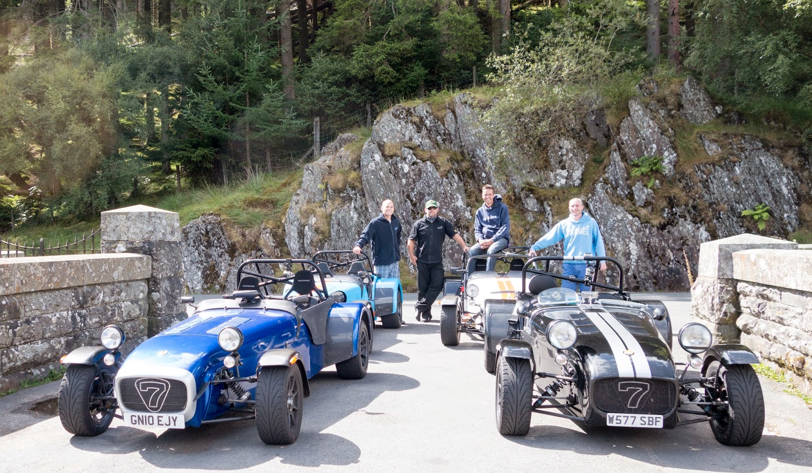 left to right... Me, Steve, Alex and Andy with our Caterhams at the Pen Y Garreg Dam.