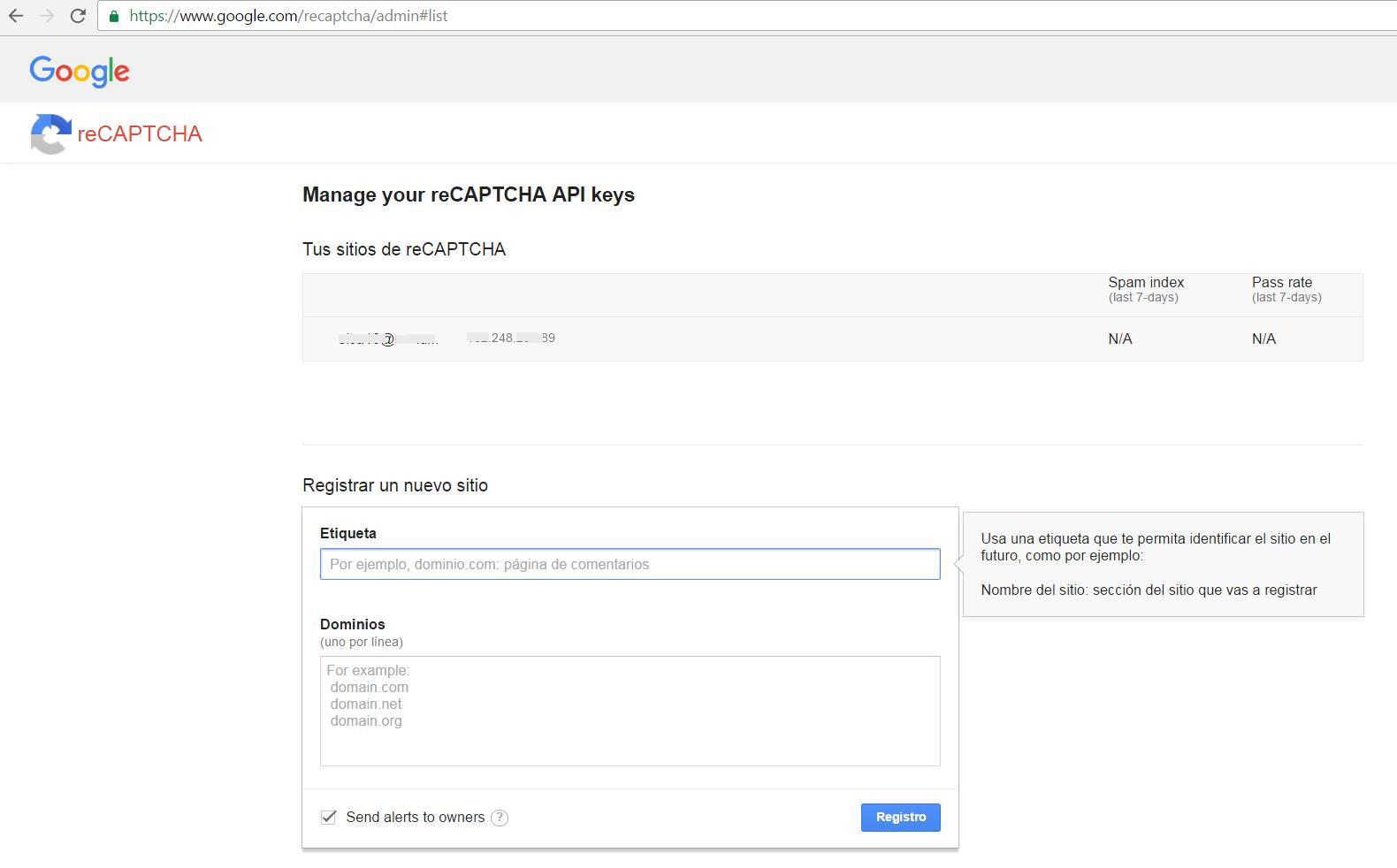 Solución al Recaptcha error: Invalid domain for site key