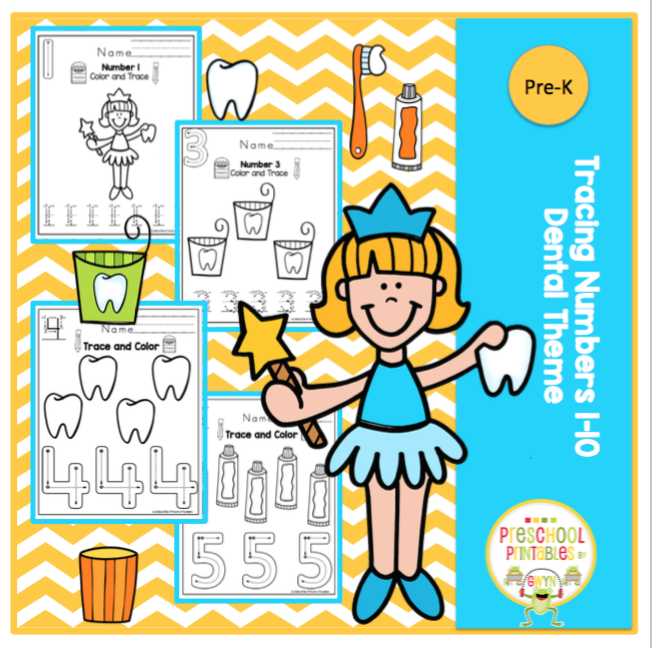Tracing Numbers 1-10 Dental Theme - \