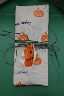 recycled halloween wrapper and gift tag