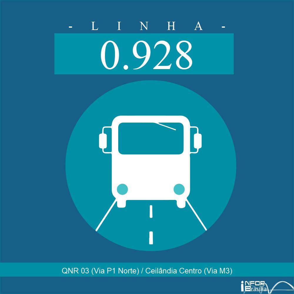 Horário de ônibus e itinerário 0.928 - QNR 03 (Via P1 Norte) / Ceilândia Centro (Via M3)