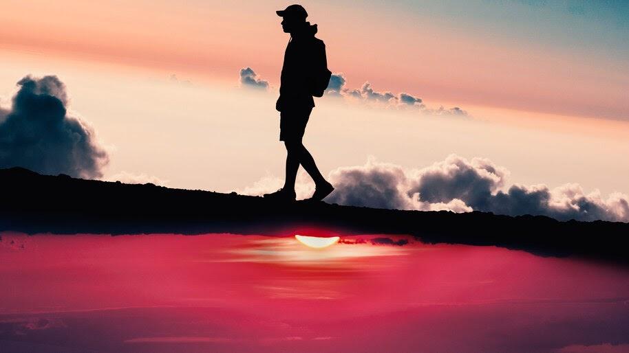 Sunset, Walking, Silhouette, Scenery, 4K, #4.1998
