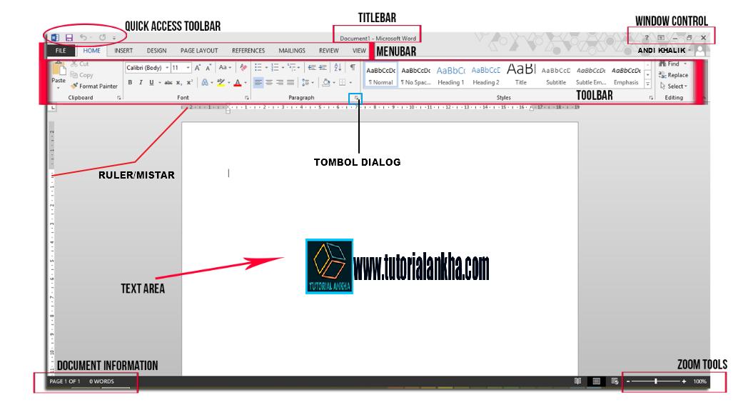 Mengenal Bagian Fungsi Menu Pada Microsoft Word 2013