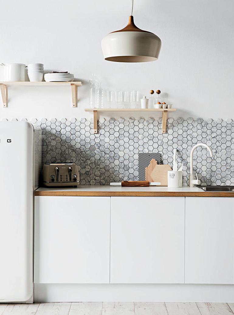 cocina azulejos hexagonales