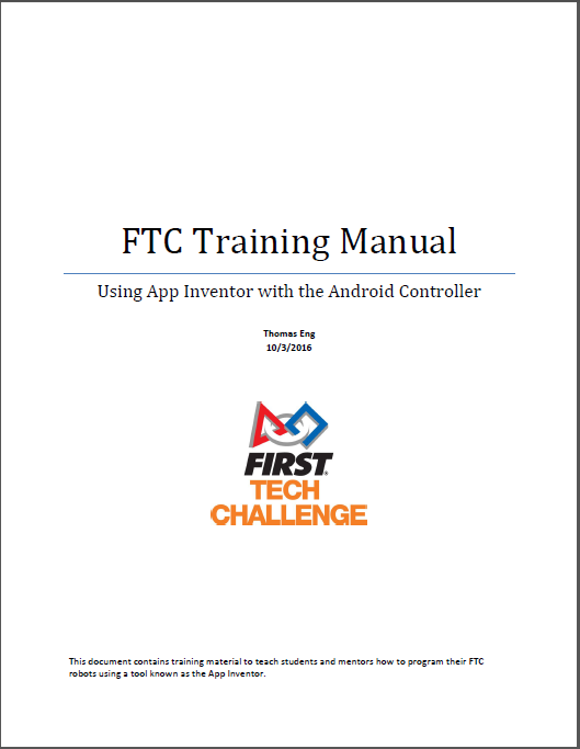 AI2 Inventor Forum News: Welcome to the FTC App Inventor