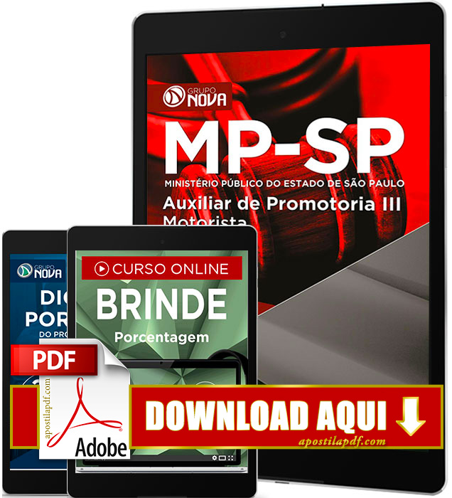 Apostila MP SP 2016 PDF Download Auxiliar de Promotoria III Motorista