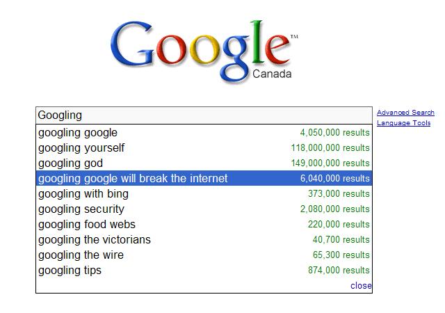 Google google break the internet : Percentage chart