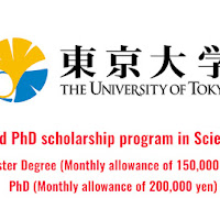 Master and PhD scholarship program in Science, Japan 2017