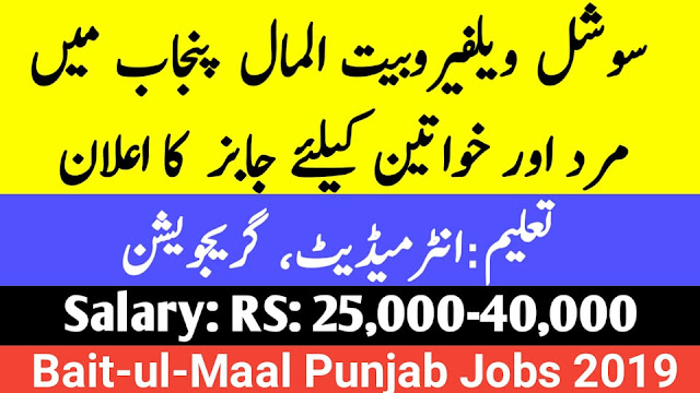 Social Welfare and Bait-Ul-Maal Punjab Jobs 2019