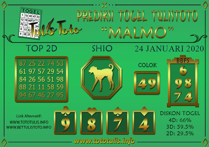 Prediksi Togel MALMO TULISTOTO 24 JANUARI 2020
