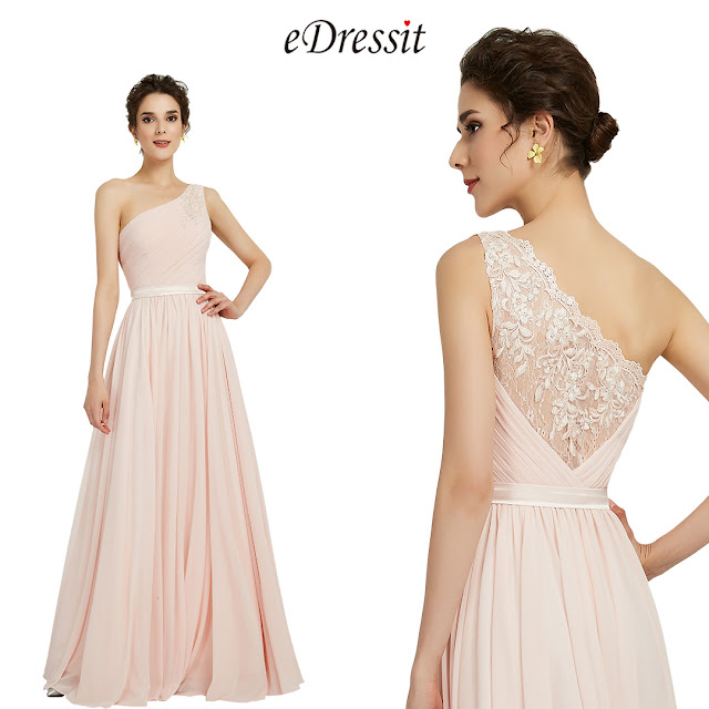 eDressit Elegant One Shoulder Pink Party Bridesmaid Dress