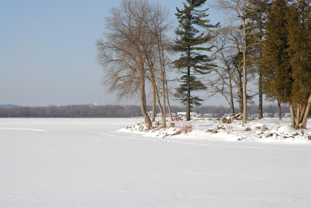 A spit of land jutting into a lake, covered in winter with ice and snow. Bass Lake, Ontario.