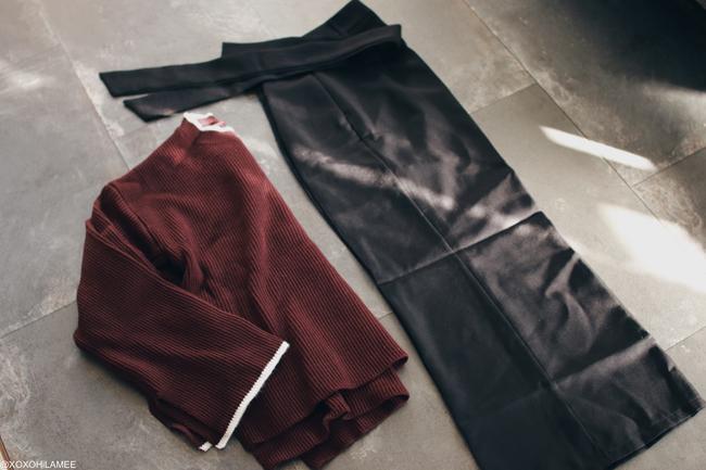 日本人ファッションブロガー、MizuhoK,NewIN from ,Rosegal-ブラウンフレアスリーブニットセーター,ブラックガウチョパンツ