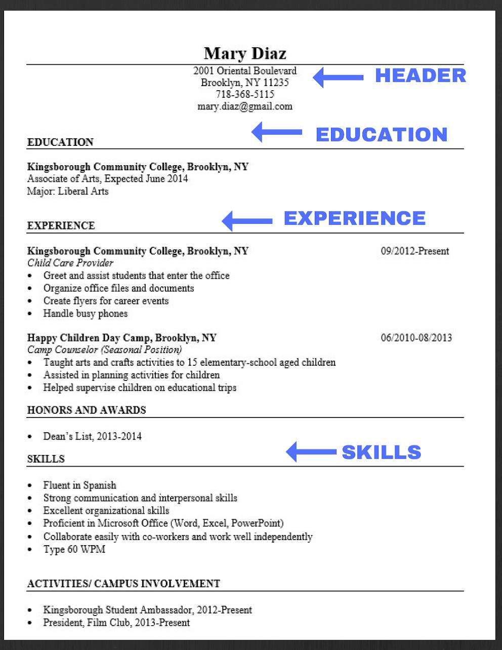 Elements of a professional resume