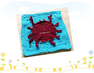 free crochet pattern, free crochet granny square pattern, free crochet blanket pattern, free crochet crab granny square pattern, free crochet crab motif, free crochet cancer project pattern, Oswal Cashmilon, Pradhan stores, Project Chemo Crochet,
