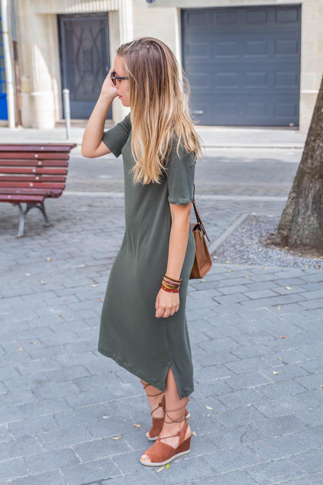 Tenue automne robe kaki