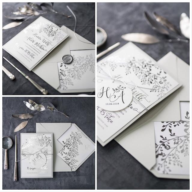Papeteria ślubna z motywem srebra i roślin od Decoris.