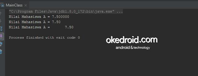 Ouput Hasil menggabungkan menggunakan nilai tipe data float atau double desimal menentukan jumlah angka bilangan method format() di program java