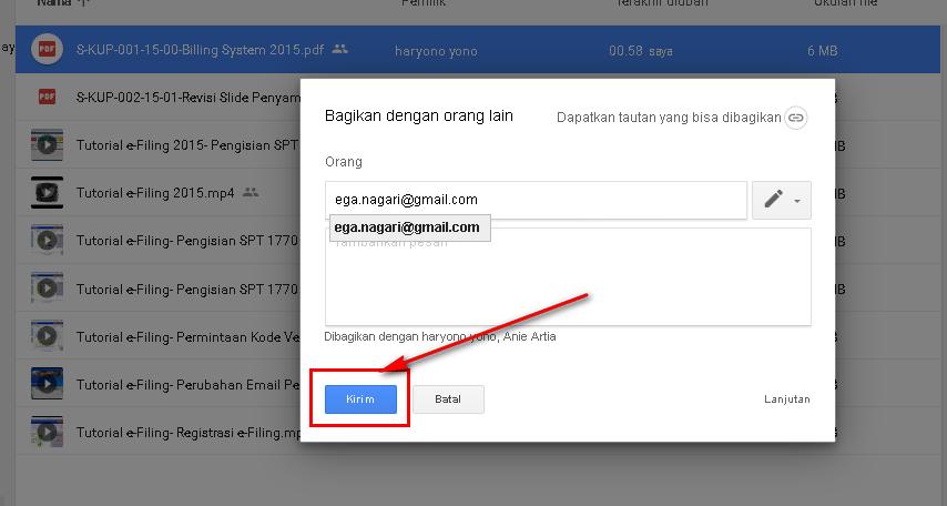 Cara Share File Google Drive - Tombol Kirim